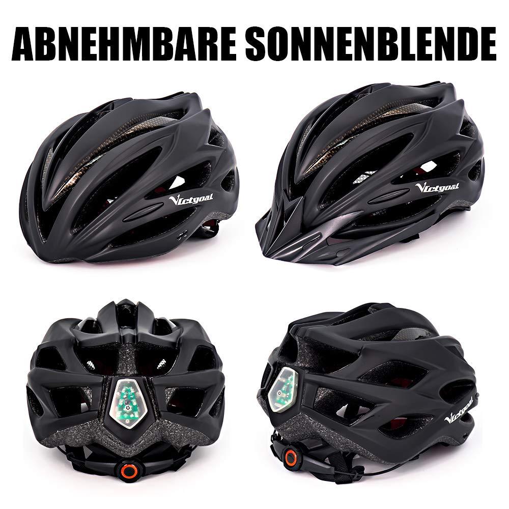 Victgoal Fahrradhelm Herren Damen MTB Mountainbike Helm mit Visier Abnehmbarer Sonnenschutzkappe und LED licht Radhelm Fahrradhelme f/ür Erwachsenen 57-61 cm