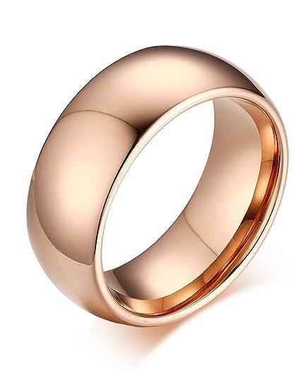 Hombres Mujeres Liso carburo de tungsteno banda boda promesa Anillo de compromiso, Oro Rosa, 8 mm ancho