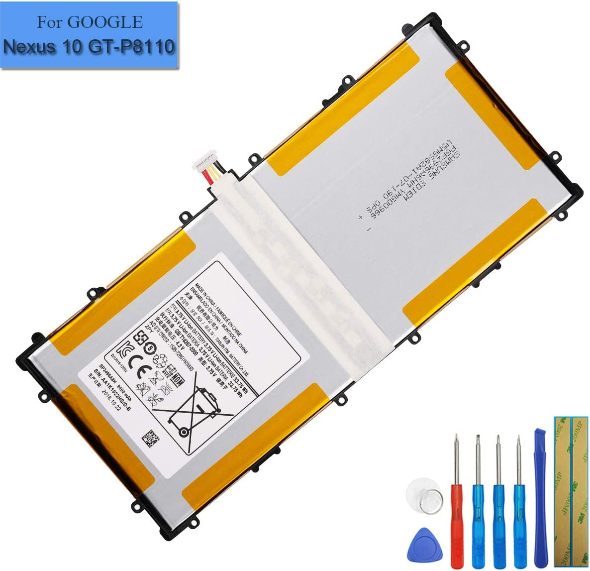 1S2P Battery for Google Nexus 10,Samsung GT-P8110 GTP8110 HA32ARB SP3496A8H US