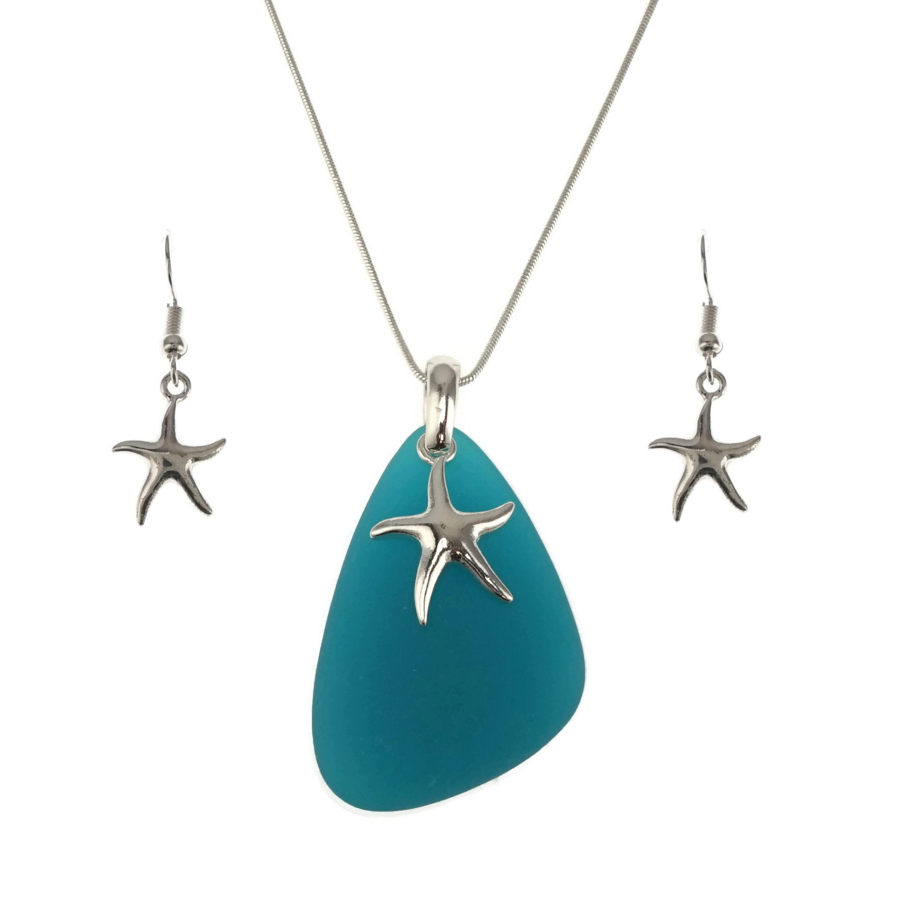 Jucicle Blue Sea Glass Pendant Long Necklace 27'' and Earrings Set (Starfish - Sea Blue)