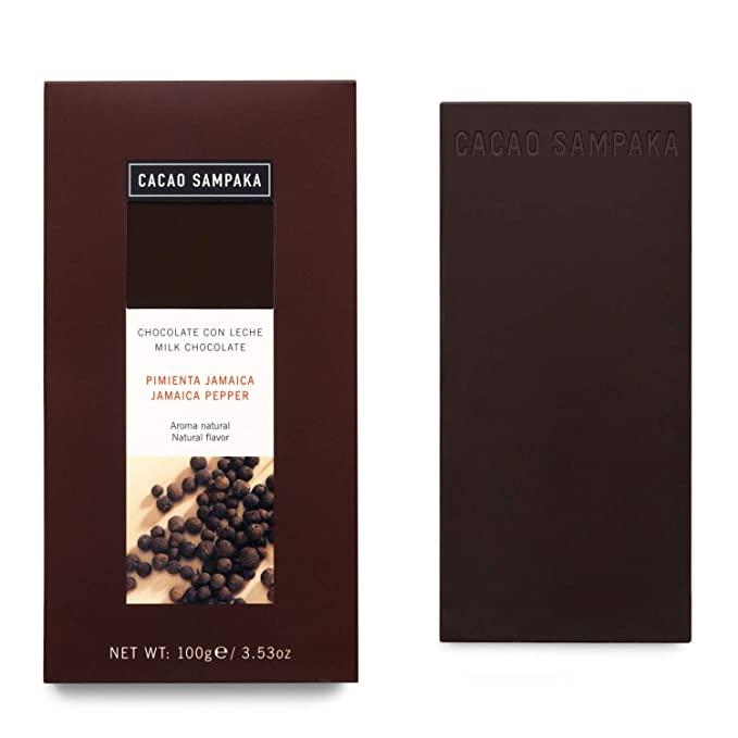 Cacao Sampaka - Tableta de Chocolate con Leche y Pimienta de Jamaica - 1 x 100gr