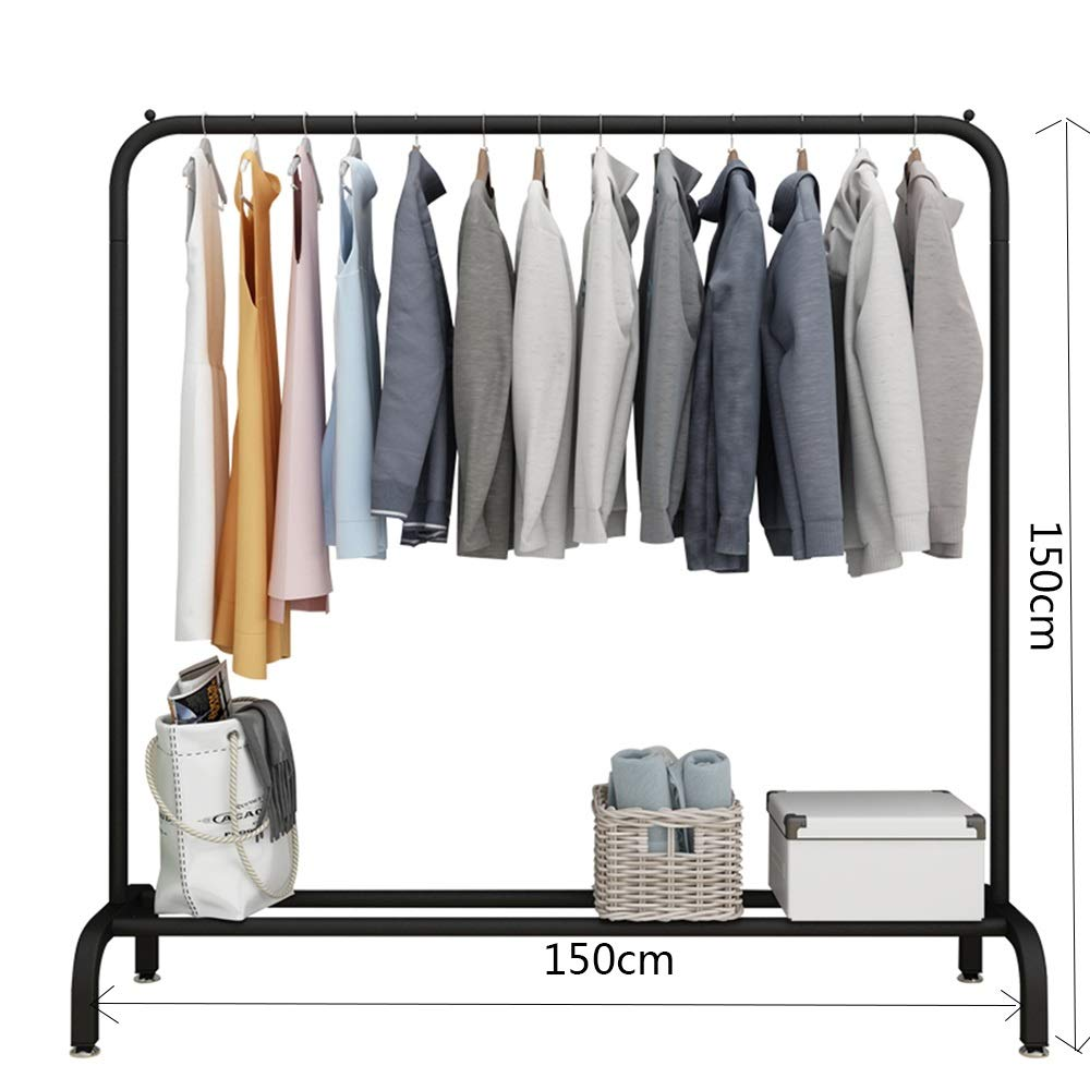 Black 150×150CM JIAYING Fashion Heavy Duty Garment Rack with Shelves 1-Tier shoes Rack,Coat Rack with Hanger Bar for Living Room, Bedroom, Study (color   Wood color, Size   80×130CM)