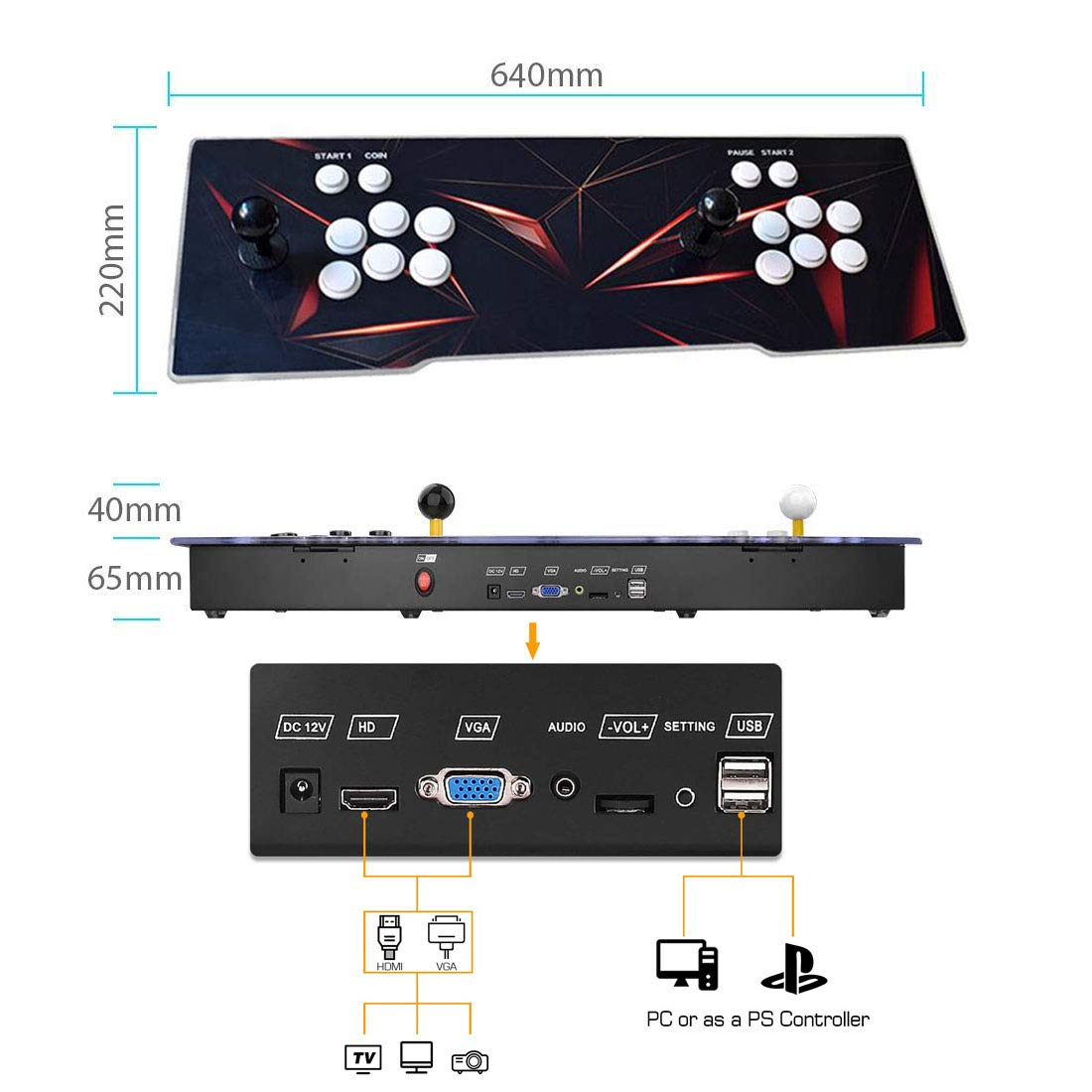 MYMIQEY 3D Pandora Key 7 Arcade Game Console | 2177 Retro HD Games | Add More Games | Full HD (1920x1080) Video | Support Multiplayer Online | 2 Player Game Controls | HDMI/VGA/USB/AUX Audio Output by MYMIQEY (Image #6)