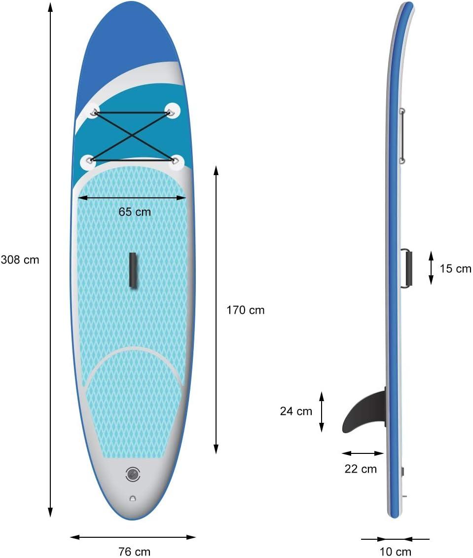 B-Ware Surfboard Stand Up Paddle SUP Board Paddelboard aufblasbar Gelb 308 cm