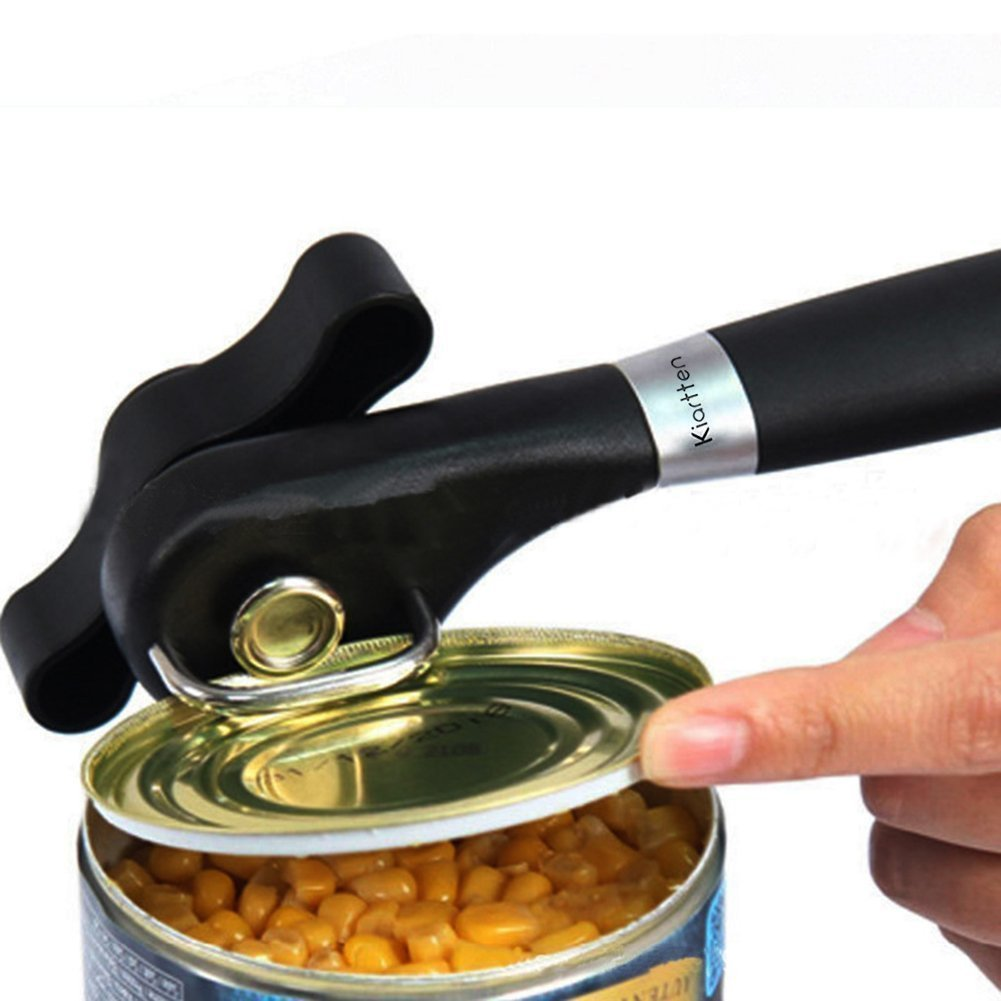 Smooth Edge Can Opener - Can Opener Manual-Safety Feature Prevents Sharp Edges and Cuts - Ergonomic Soft Grips Handle - Lifetime Refund Or Replacement Guarantee - Food Grade Stainless Steel by housewearall (Image #2)