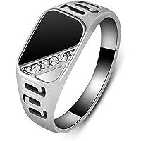 ZYAW Good Quality Man Jewelry Fashion White Gold Plated Black Enamel Men Finger Ring with CZ Diamond