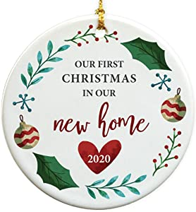 GiftsForYouNow First Christmas in Our New Home Round Disc Christmas Ornament