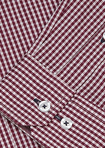 Chemise À Manches Chèque Stretch Boulanger Hommes Tarocash Coton Regular Longues Tailles Xs-5xl Pour Sortir Bourgogne Smart Occasions Particulières
