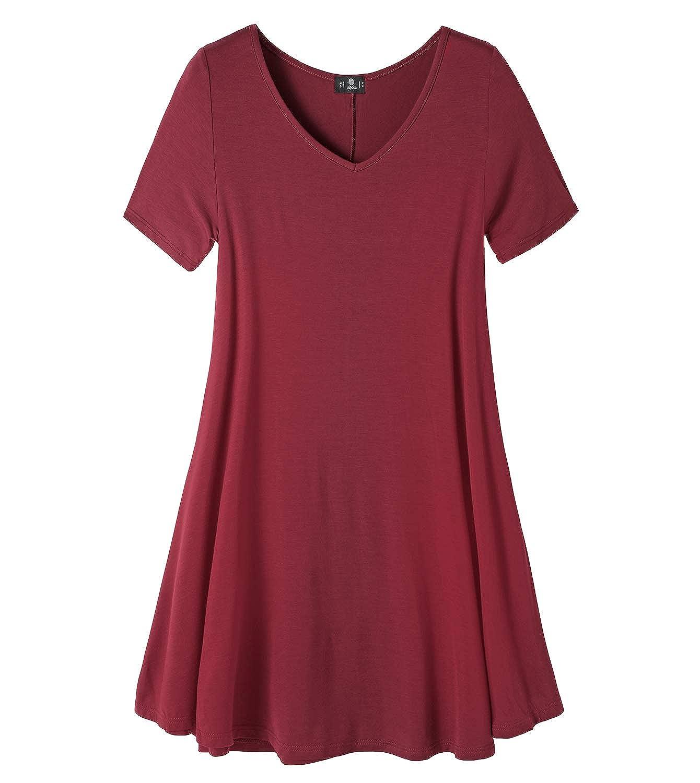 LAPASA Women's Flared Blouse - T-Shirt -Short Sleeve Tunic - Loose Fit - Plain Top - Plus Size - L20
