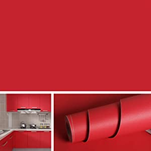 Livelynine Red Wall Paper Self Adhesive Vinyl Removable Wallpaper Peel and Stick Countertop Wall Decorations Adhesive Shelf Liners for Kitchen Cabinet Old Furniture Arts Craft Paper 15.8x78.8 Inch