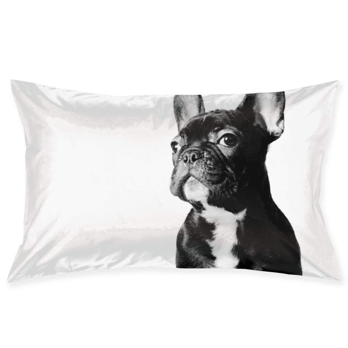 Blue Flowers French Bulldog Fabric Standard Pillowcase
