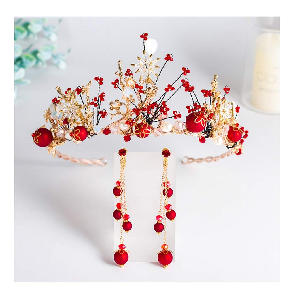 Wreath Flower Bride Red Crown Tiara Girl Hair Accessories Wedding Dress Accessories (Color : B, Size : 44.515.58cm) by Wreath