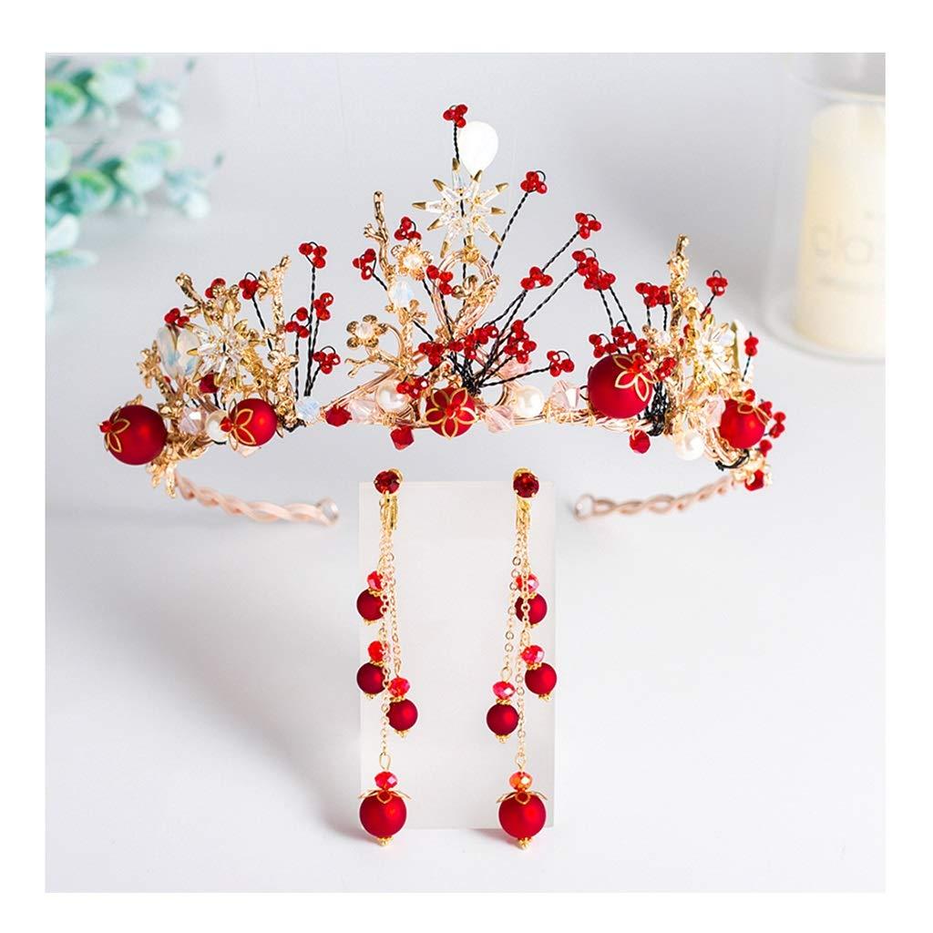 Wreath Flower Bride Red Crown Tiara Girl Hair Accessories Wedding Dress Accessories (Color : B, Size : 44.515.58cm)