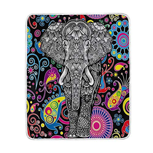 ZZKKO Paisley Floral Indian Elephant Blanket Throw Warmer for Kids Baby Boy Girl Home Decorative Couch Soft Bed Living Room Nap Mat Outdoor Travel