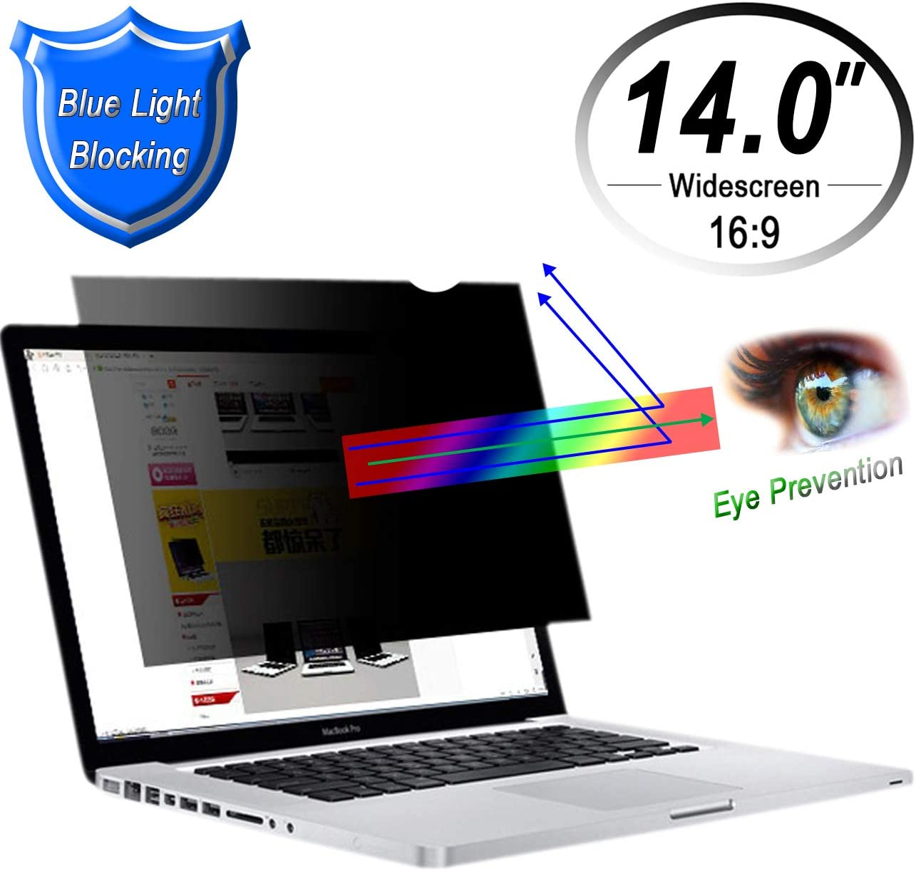 CenterZ 14.0 inch Laptop Privacy Filter, Blue Light Blocking 16:9 Widescreen Removable Reusable Antiglare 60° Visible Angle Notebook Screen Protector Film for HP Lenovo Surface Macbook Dell (Blackout)