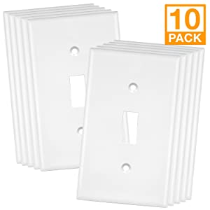 Enerlites 8811-W-10PCS Toggle Wall Plate, Standard Size 1-Gang, Unbreakable Polycarbonate, White (10 Pack)