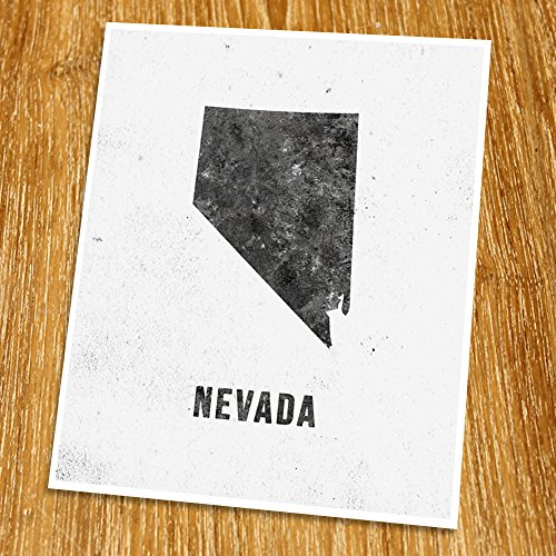 Nevada Print (Unframed), Industrial, Loft, Modern Map Art, Cafe, Black and White, 8x10