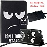 Folio Case for Fire 7 2015 - Newshine Slim PU Leather Magnetic Closure Standing Cover Case for Amazon Kindle Fire 7 Tablet (Only Fit Fire 7'' Display 5th Generation - 2015 Release), Don't Touch