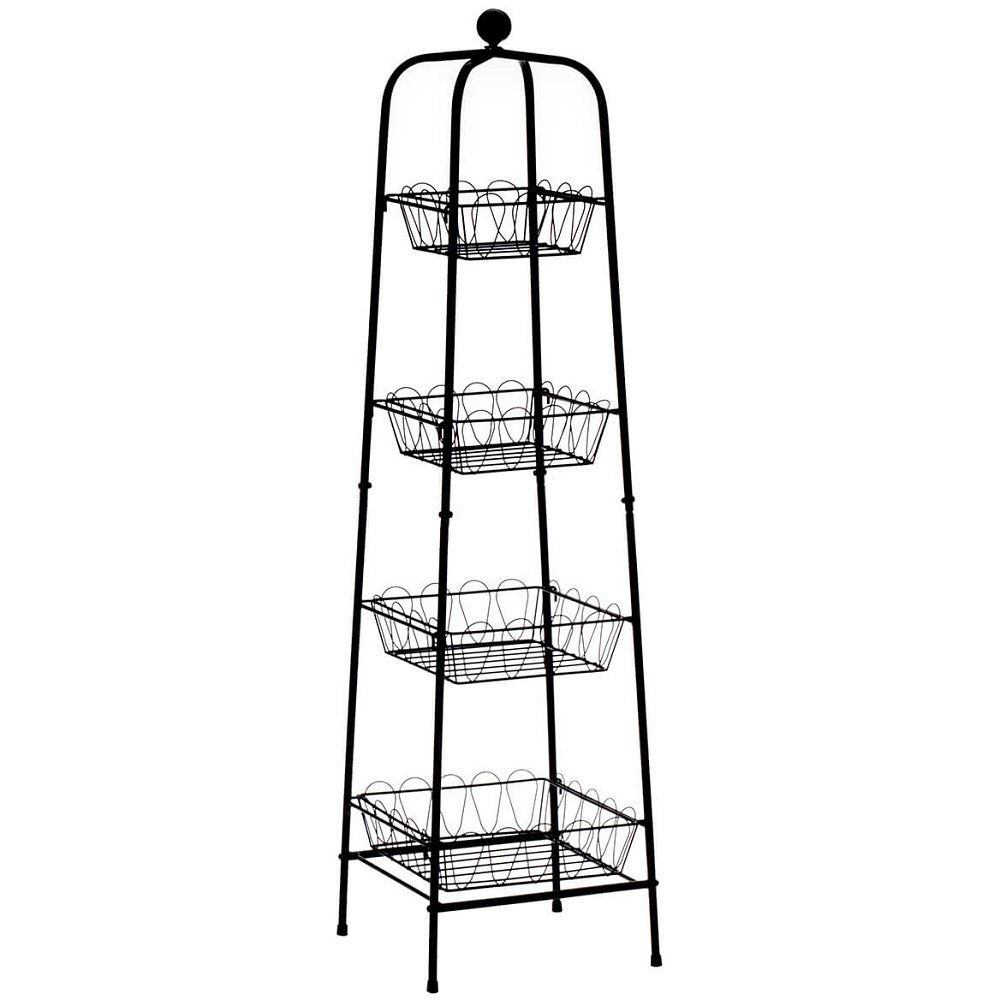 MS Home 4-Tier Metallic Tower Type Storage and Organizer in Black - General Purpose, Freestanding, Heavy-duty - 10.25'' L x 11'' W x 40.75'' H
