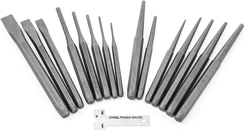 3pcs Industrial Mechanics Punch /& Chisel Set Pin Tapered Center Cold Roll Gauge