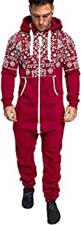 H.eternal Mens Onesie Jumpsuit Hooded Zip Up All in One Playsuit Non Footed Pyjamas with Pockets One-Piece Garment Sleepsuit Christmas Blouse