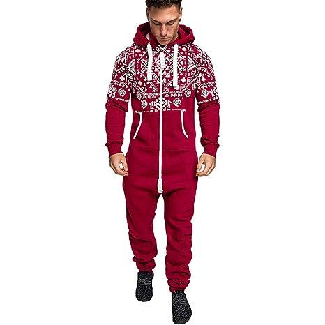 ba82ff0bc47 Amazon.com  EnjoCho Fashion Casual Mens Jumpsuits Hooded Long Sleeve  Pockets Trousers Christmas Zip Pants Long Sexy Jumpsuit (Size XL
