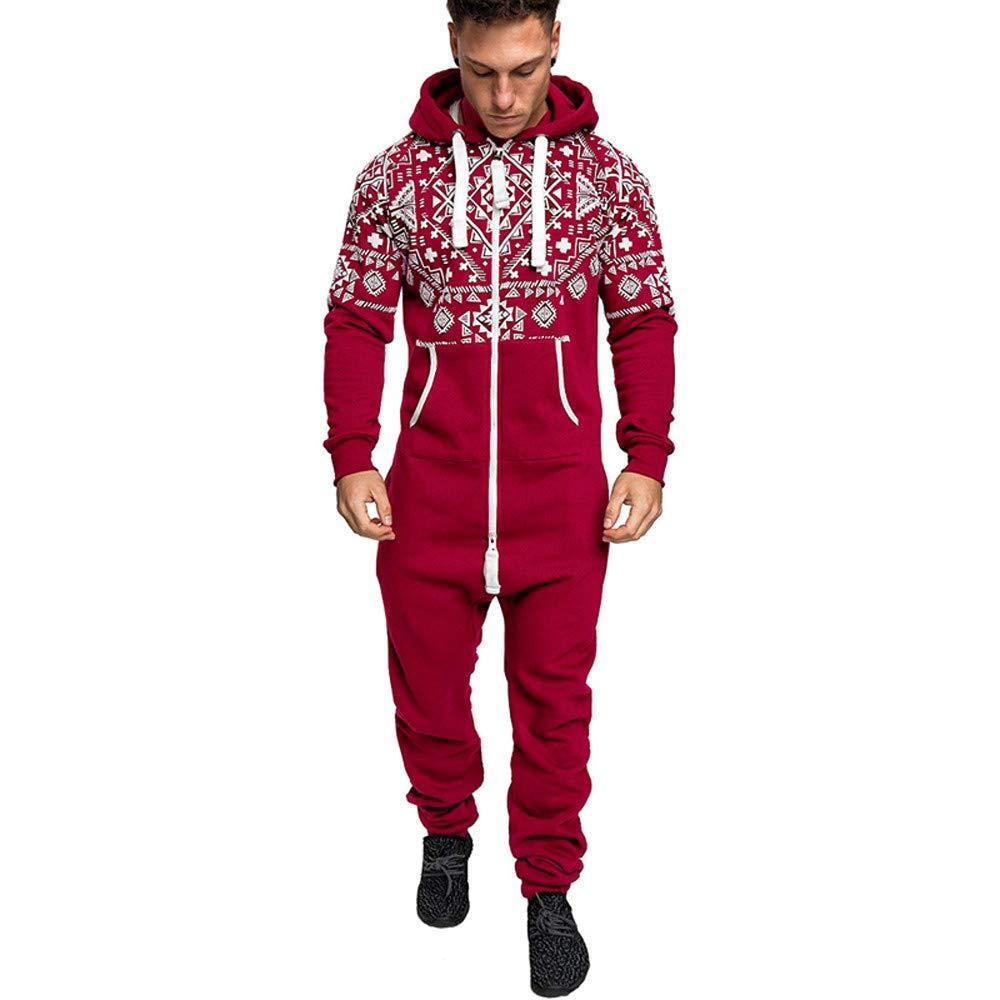 Hoshell_Men Tops Men's Xmas Autumn Winter Casual Hoodie Christmas Zipper Print Jumpsuit Playsuit