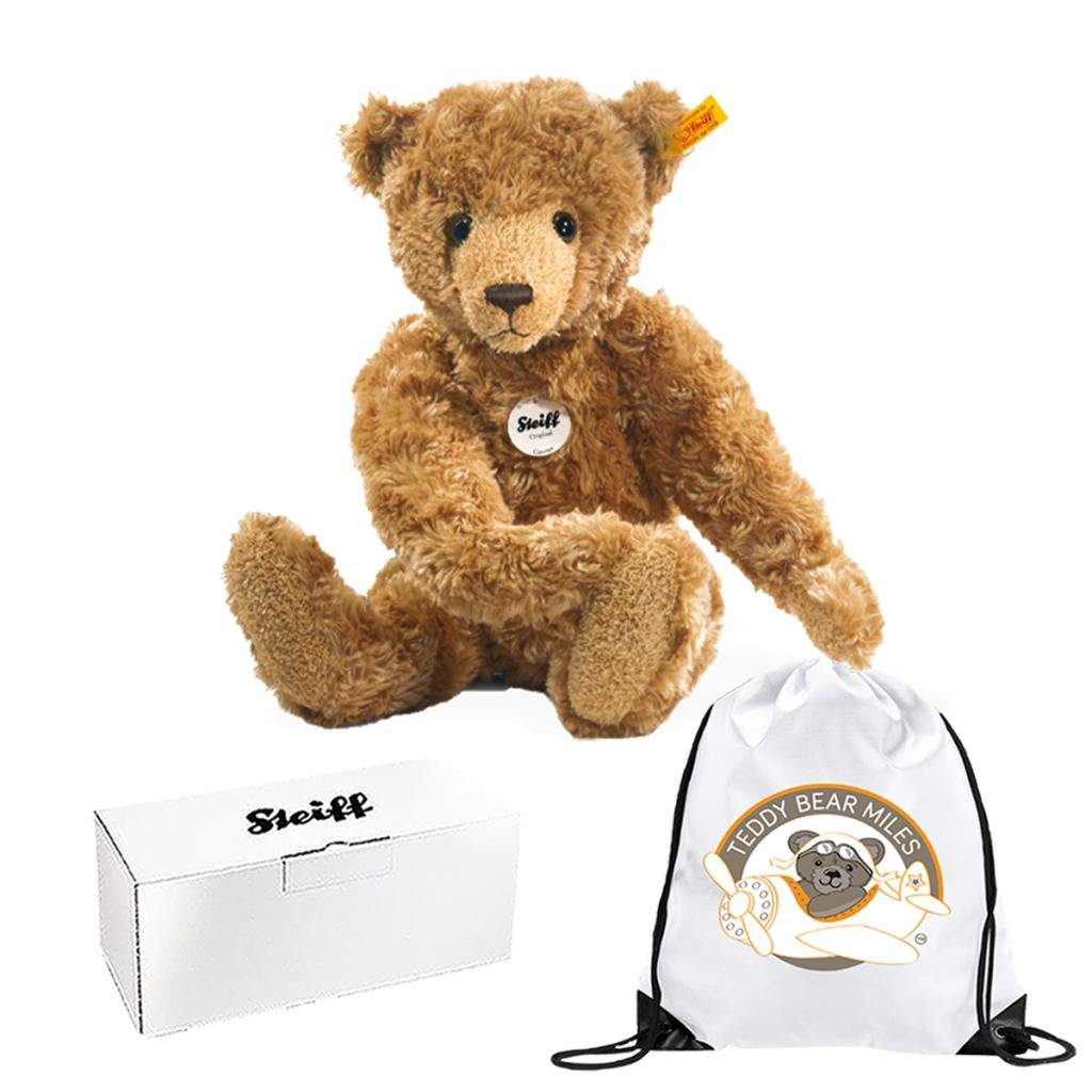 Number One Official Authentic Steiff George Teddy Bear Just Adorable 40 cm and Reusable Gift Bag Congratulations Your A Pet Owner Present Gift Ladies Women Lady Woman Her Suitable From Birth