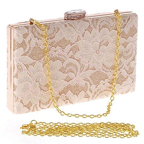 ERGEOB Damen Abendtasche Spitzebeutel der koreanischen Art und Weise Damen Tasche Diamant-Technologie aprikose schwarz