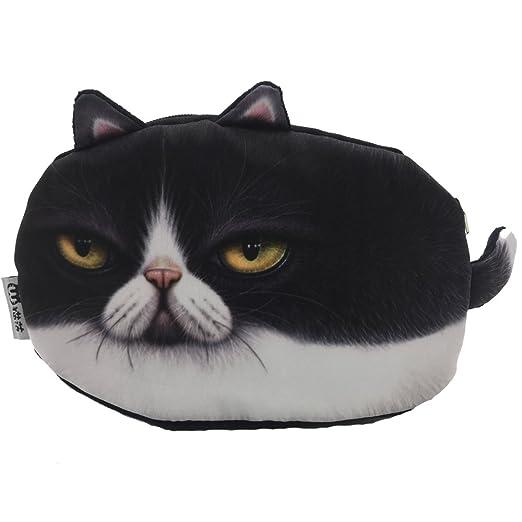 25395f85459d Shuijin Fashion Girls Vivid Cute Animal 3D Cats Face Print Zip Wallets Coin  Bag Purse