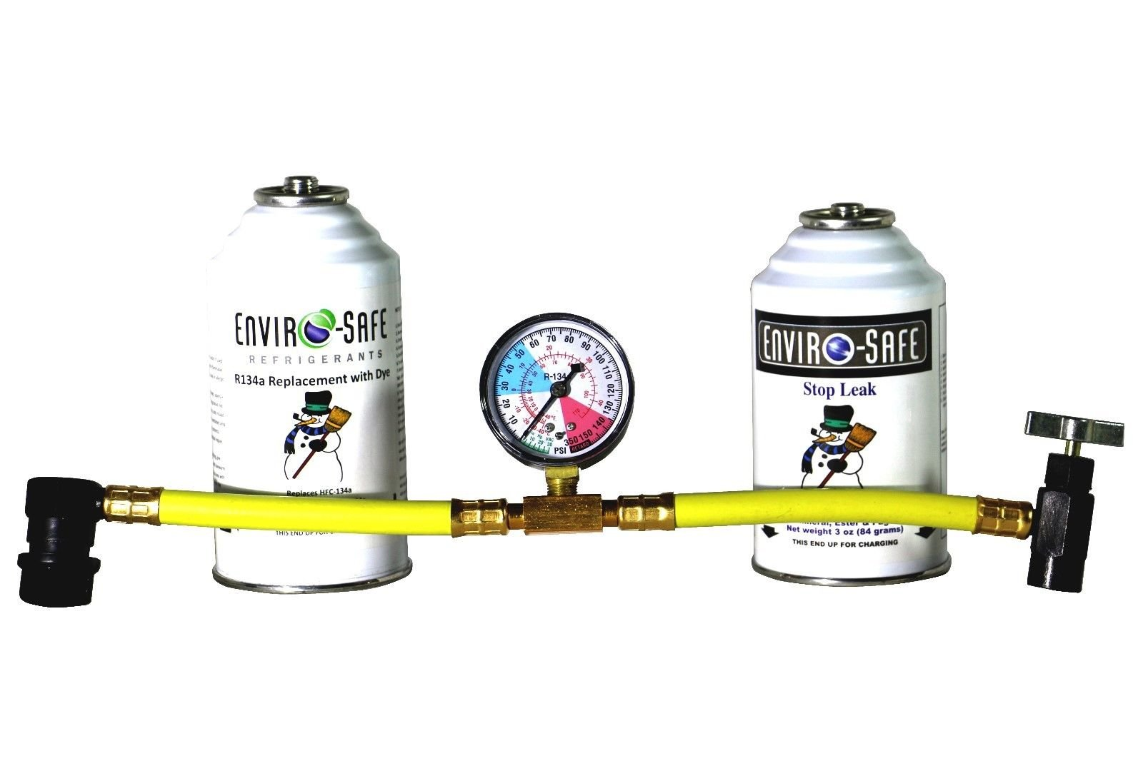 Enviro-Safe 1 Stop Leak and 1 R134a Replacement with Dye Kit with R134 Tap Gauge #RSG-3 by Enviro-Safe