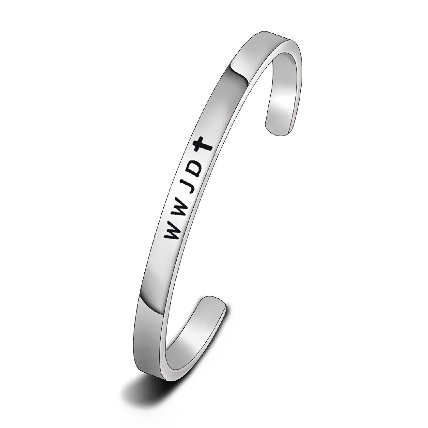 WUSUANED Religious Jewelry WWJD Cross Cuff Bracelet Bangle First Communion Gift