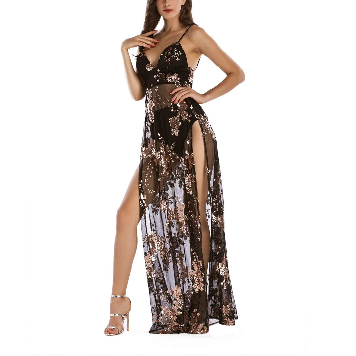 Sequins Mesh Spaghetti Strap Maxi V Neck High Split A-line Sheer Long Dress