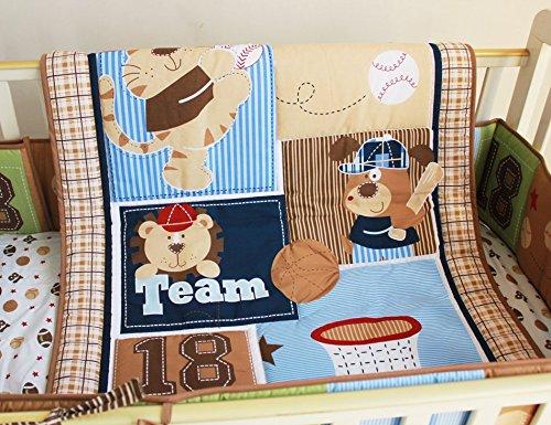 NAUGHTYBOSS Boy Baby Bedding Set Cotton Cartoon Bear Play Baseball Pattern Quilt Bumper Bedskirt Fitted Diaper Bag 8 Pieces Set Blue by NAUGHTYBOSS (Image #2)