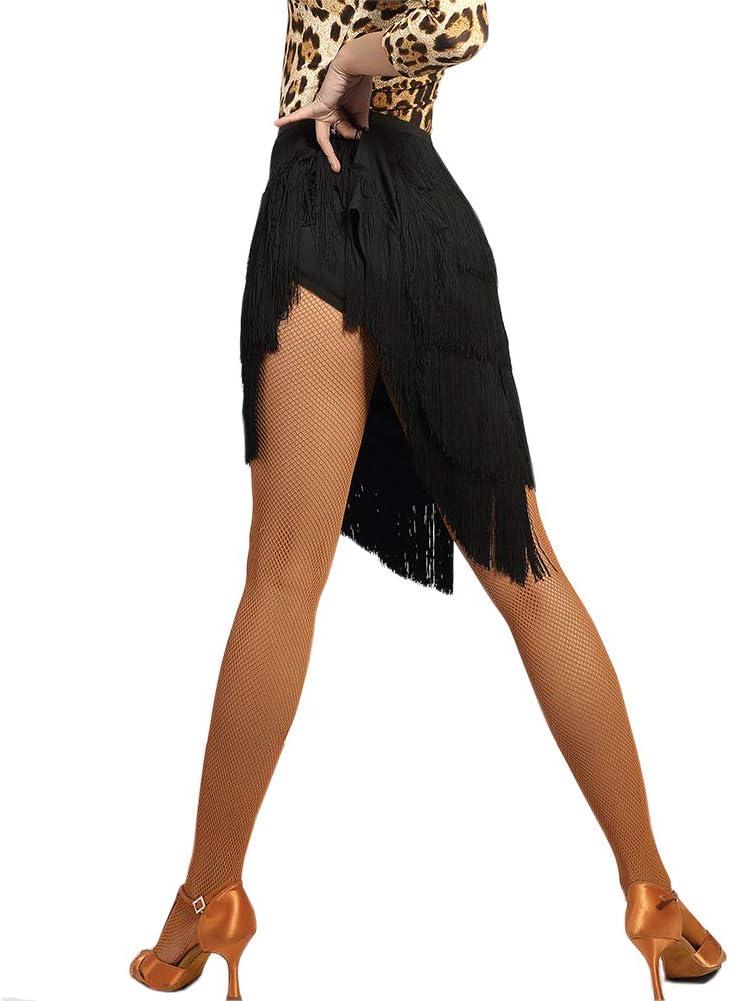Clicks Jupe de Danse Latine Jupe de Rumba Samba Salsa Tango /à Franges Tassels /Élastique pour Femme et Fille