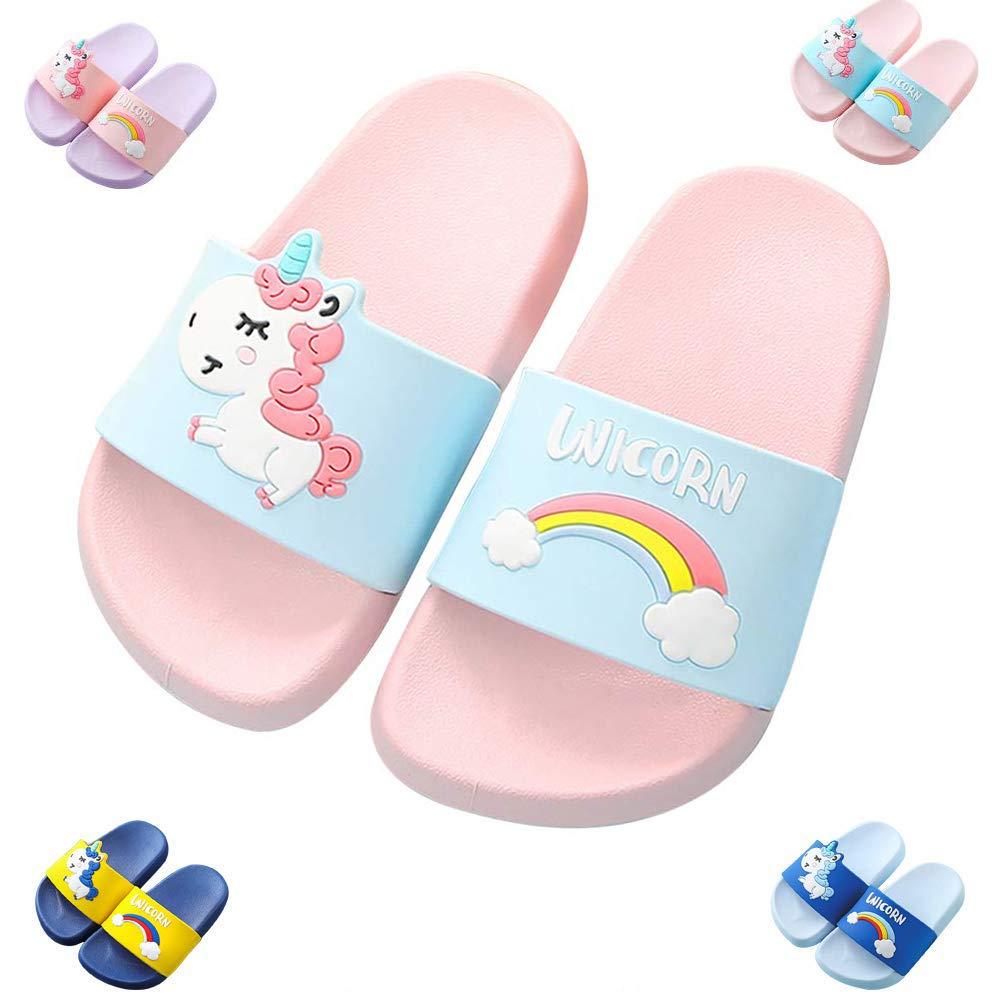 Toddler Little Kids Unicorn Shower Pool Slide Sandals Non-Slip Summer Slippers Lightweight Beach Pool Water Shoes for Girls and Boys (Toddler/Little Kids) (13.5-1 M US Little Kid, Pink)