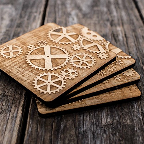 Gears Wood Coaster Set 4x4in Raw Wood
