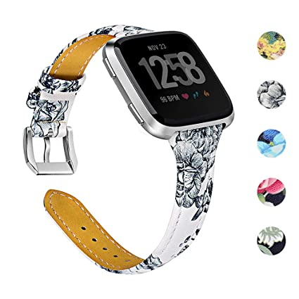 Joyozy Genuine Leather Bands Compatible with Fitbit Versa&Fitbit Versa 2 &Fitbit Versa SE&New Fitbit Versa Lite Smartwatch,Replacement for Accessories ...