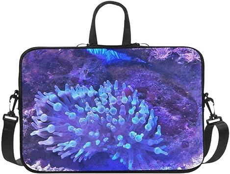 Bolso de Hombro para computadora portátil Bolso de Mensajero Estuche para portátil Funda de Viaje Funda de Viaje de Tableta de Neopreno Suave, Hermosa Anilla de Burbuja Entacmaea Quadricolor Marine B: Amazon.es:
