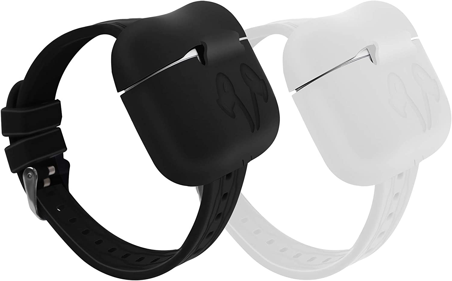 Compatible with Apple Airpods Pro Protector Case Wristband with Charging Case Protector, Elasticity Wristband Unique Design Soft Silicone Material Strap for Airpods Pro/Airpods 3 (Black&White)