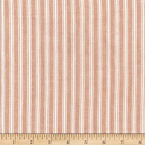 Textile Creations Rustic Woven Stripe Tan/White Fabric by The Yard
