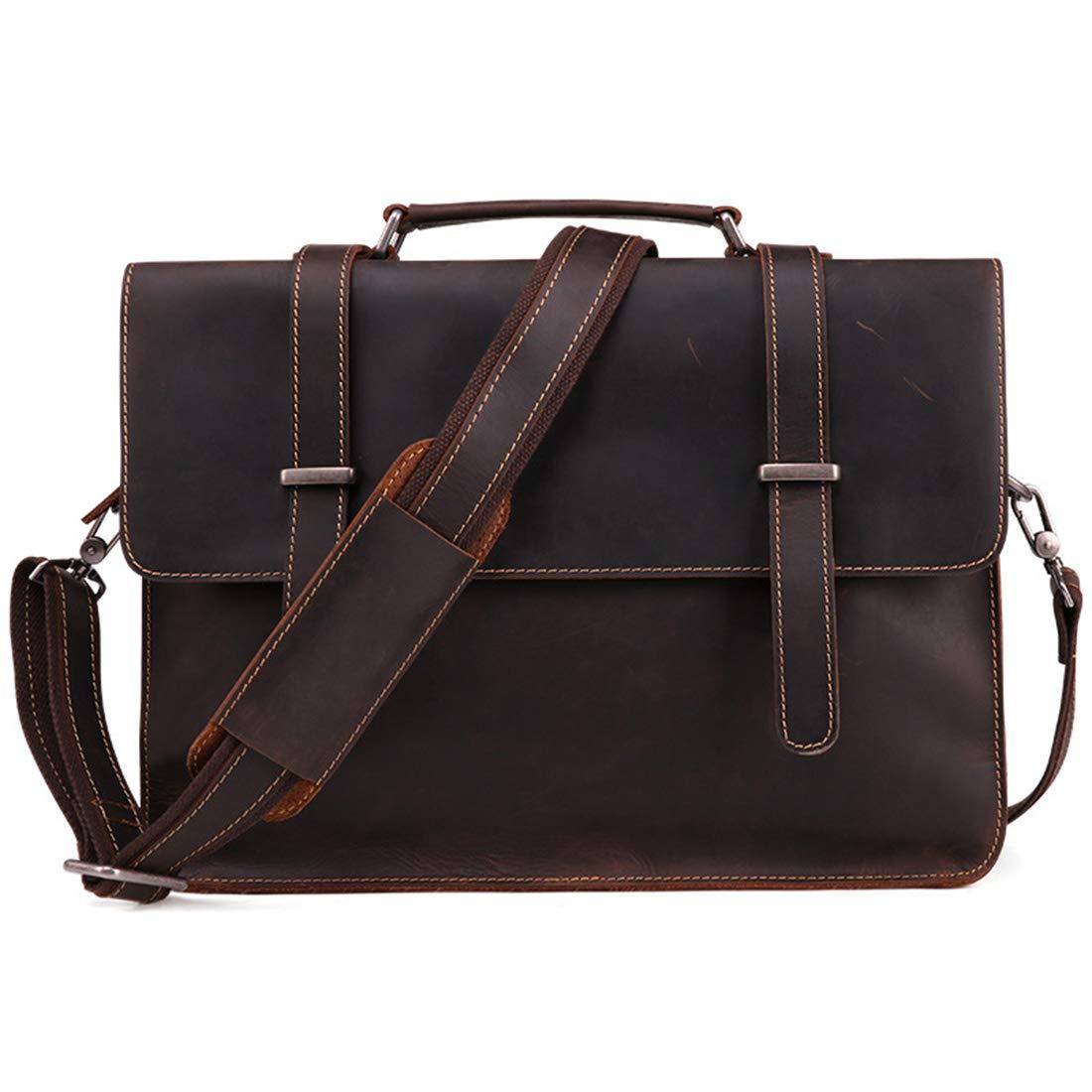 KRPENRIO Mens Office Business Briefcase Tote Bag Shoulder Casual Travel Shopping Handbag for 13 Inch Tablet Color : Dark Coffee