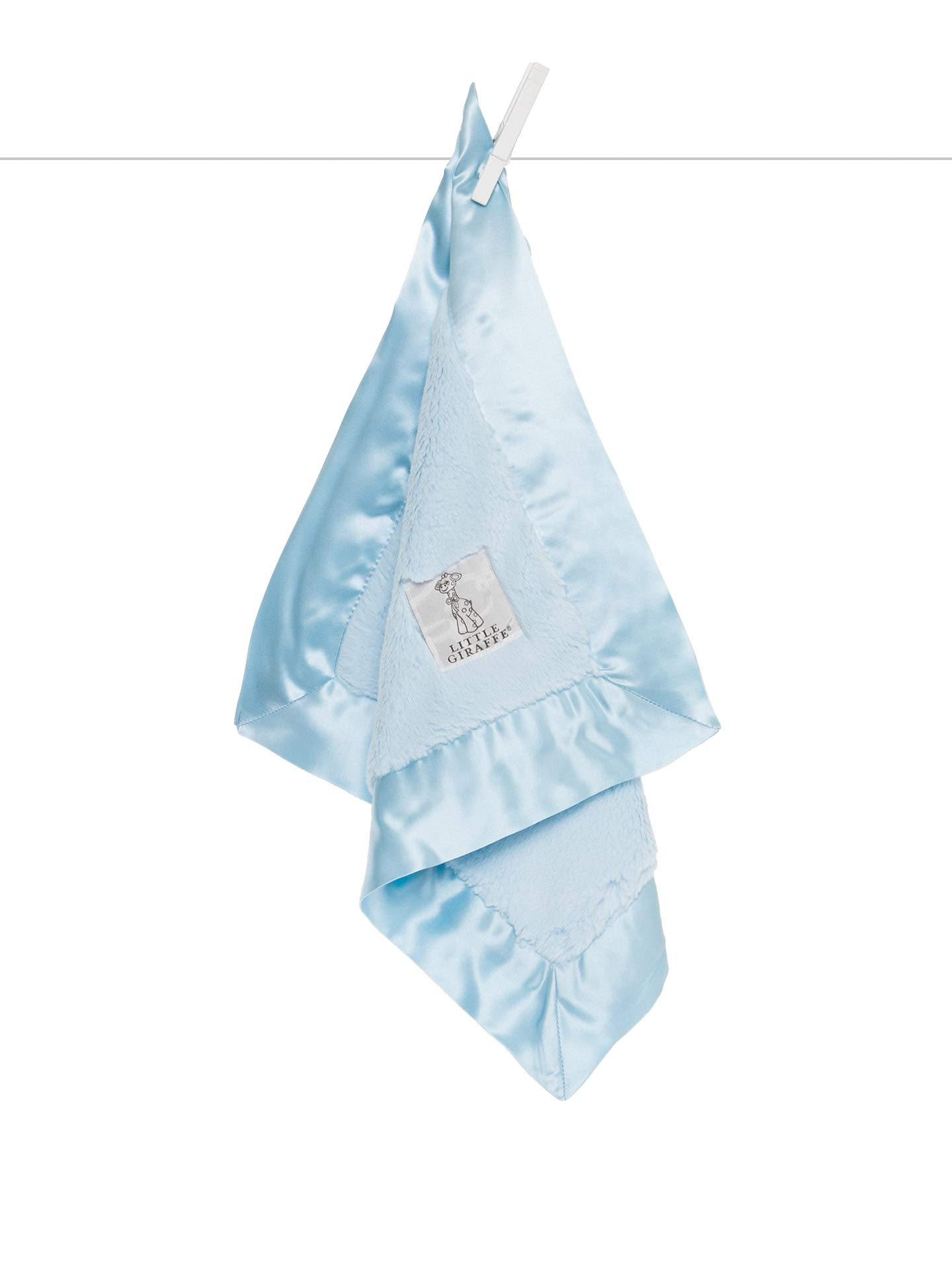 Little Giraffe Luxe Solid Blanky, Blue, 14'' x 14''