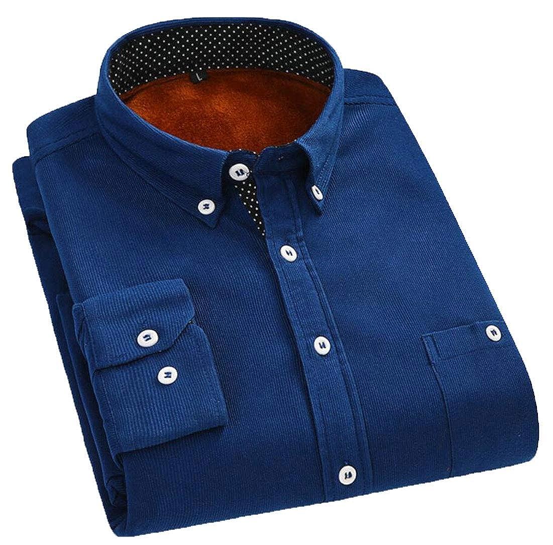 Qiangjinjiu Mens Thicken Button Down Shirt Casual Long Sleeve Corduroy Shirts