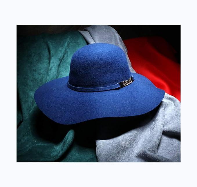 SweetStyle Sombrero de Copa Sombrero de Invierno Grueso otoño Sombrero de Cadena Exquisita Europea y Americana Sombrero cúpula Femenina Lado Ondulado ...