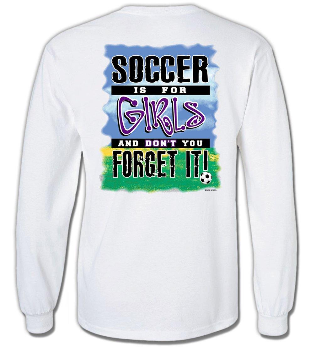 長袖サッカーTシャツ:サッカーはfor Girls B00TQ9B9Z6 Adult Medium|ホワイト ホワイト Adult Medium