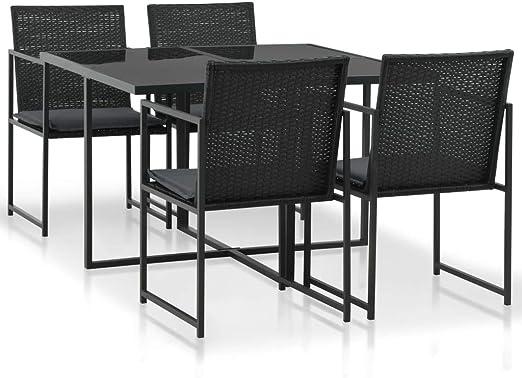 Fesjoy Conjunto de Muebles de jardín Juego de Mesa de Comedor de ratán 1 Tabla, 4 sillas y 4 Cojines en Resina Trenzada para Jardin, Patio o terraza Negro: Amazon.es: Hogar