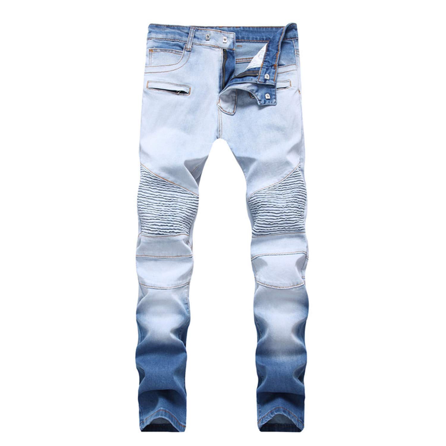 Sonjer Men Jeans Slim Skinny Biker Pleated Sky Blue Trousers Hip Hop Washed Bleached Casual Moto Zipper Denim Pants