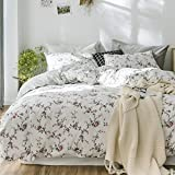 MKXI Flower Duvet Cover Set, Floral Cute Rose Printed White Bedding Sets Soft Lightweight Cotton 1 duvet cover and 2 Pillow Shams Twin