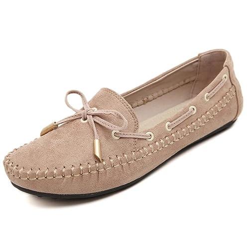 Mocasines para Mujer Zapatos Planos de Verano cómodos para Conducir (Beige,35)